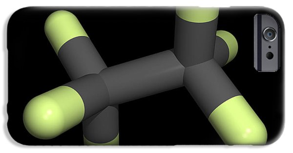 Pollutant iPhone Cases - Hexafluoroethane Molecule iPhone Case by Friedrich Saurer