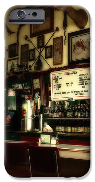Historic Niles District in California Near Fremont . Bronco Billys Pizza Palace . 7D10707 iPhone Case by Wingsdomain Art and Photography