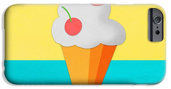 Celebration Mixed Media iPhone Cases - Ice Cream On Hand Made Paper iPhone Case by Setsiri Silapasuwanchai
