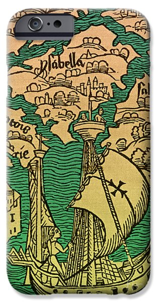 Christopher Columbus iPhone Cases - Islands Discovered By Columbus iPhone Case by Photo Researchers