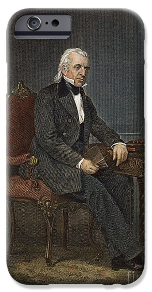 Democratic Party iPhone Cases - James Knox Polk (1795-1849) iPhone Case by Granger