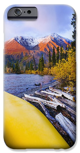 Kathleen iPhone Cases - Kathleen Lake And Mountains, Kluane iPhone Case by Yves Marcoux