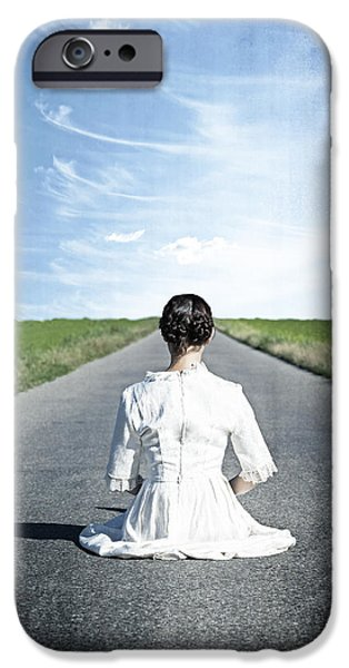 lady on the road iPhone Case by Joana Kruse