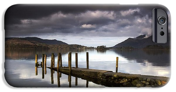 Trees Reflecting In Water iPhone Cases - Lake Derwent, Cumbria, England iPhone Case by John Short