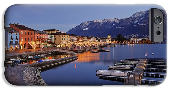 Beach At Night iPhone Cases - Lake Maggiore - Ascona iPhone Case by Joana Kruse