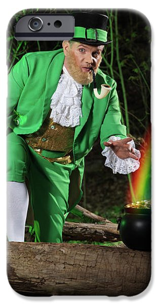Leprechaun with Pot of Gold iPhone Case by Oleksiy Maksymenko