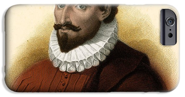 Don Quixote iPhone Cases - Miguel De Cervantes, Spanish Author iPhone Case by Photo Researchers