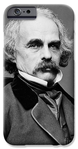 Portrait Of Evil iPhone Cases - Nathaniel Hawthorne, American Author iPhone Case by Photo Researchers