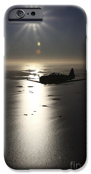 North American Aviation iPhone Cases - North American T-6 Texan Trainer iPhone Case by Daniel Karlsson