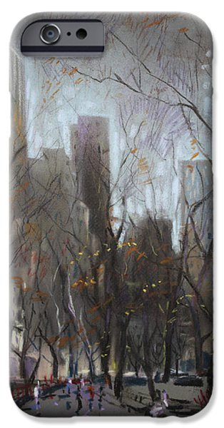 Fall Pastels iPhone Cases - NYC Central Park iPhone Case by Ylli Haruni
