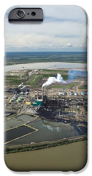 Oil Reserves iPhone Cases - Oil Processing Plant, Athabasca Oil Sands iPhone Case by David Nunuk