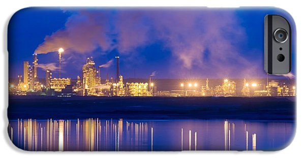 Tar Sands iPhone Cases - Oil Refinery At Night iPhone Case by David Nunuk