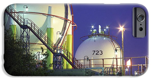Lpg iPhone Cases - Oil Refinery Storage Tanks iPhone Case by Paul Rapson