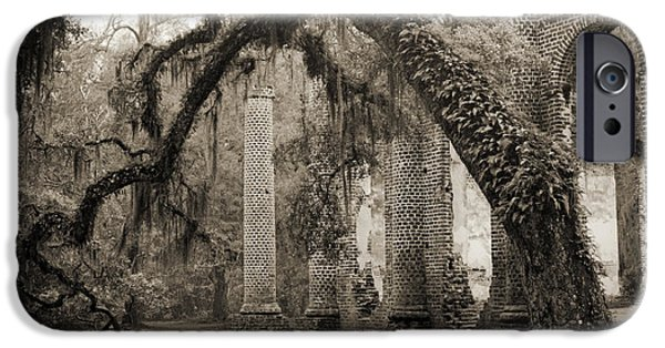 Live Oaks iPhone Cases - Old Sheldon Church Ruins iPhone Case by Dustin K Ryan