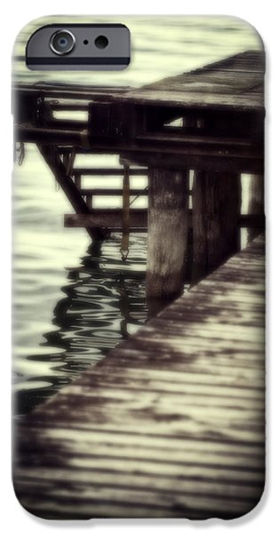 old wooden pier with stairs into the lake iPhone Case by Joana Kruse