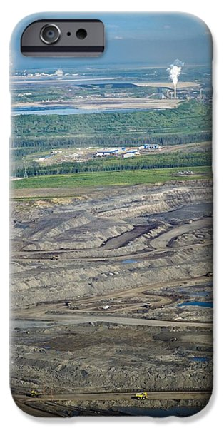 Oil Reserves iPhone Cases - Opencast Mine, Athabasca Oil Sands iPhone Case by David Nunuk