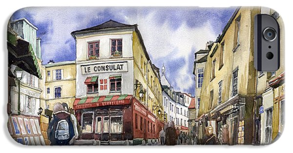 Street iPhone Cases - Paris Montmartre  iPhone Case by Yuriy  Shevchuk