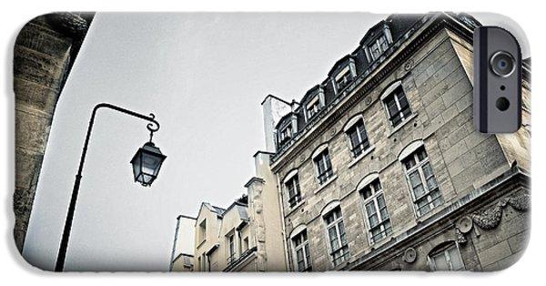 Streetlight iPhone Cases - Paris street iPhone Case by Elena Elisseeva