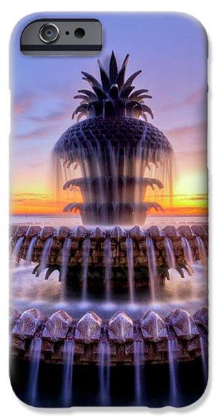 Pineapple Fountain Charleston SC Sunrise iPhone Case by Dustin K Ryan