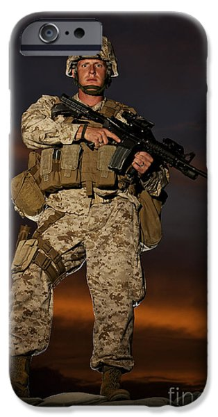 Portrait Of A U.s. Marine In Uniform iPhone Case by Terry Moore