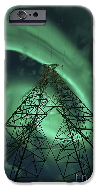 Powerlines And Aurora Borealis iPhone Case by Arild Heitmann