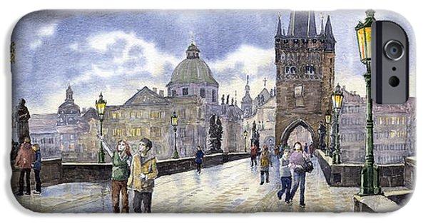 Charles Bridge iPhone Cases - Prague Charles Bridge iPhone Case by Yuriy  Shevchuk