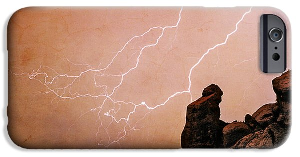 Lightning Images iPhone Cases - Praying Monk Camelback Mountain Lightning Monsoon Storm Image TX iPhone Case by James BO  Insogna