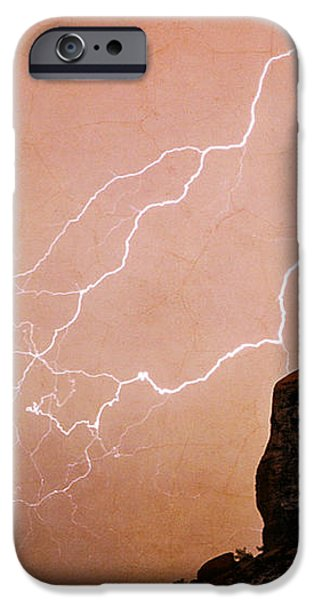 Praying Monk Camelback Mountain Lightning Monsoon Storm Image TX iPhone Case by James BO  Insogna