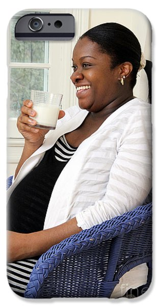 African American Diet iPhone Cases - Pregnant Woman Drinking Milk iPhone Case by Photo Researchers