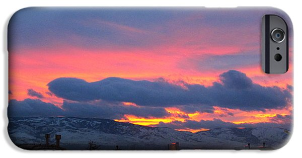Snowy Night iPhone Cases - Reno Sunset iPhone Case by Phyllis Kaltenbach