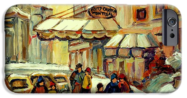 Outremont iPhone Cases - Ritz Carlton Montreal Streetscene iPhone Case by Carole Spandau