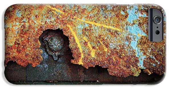 Vandalize Photographs iPhone Cases - Rust Background iPhone Case by Carlos Caetano