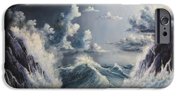 Sea Reliefs iPhone Cases - Stormy Sea iPhone Case by John Cocoris