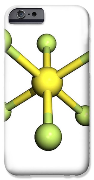 Sulphur Hexafluoride Molecule iPhone Case by Friedrich Saurer