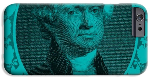 4th July Digital iPhone Cases - THOMAS JEFFERSON in TURQUOIS iPhone Case by Rob Hans