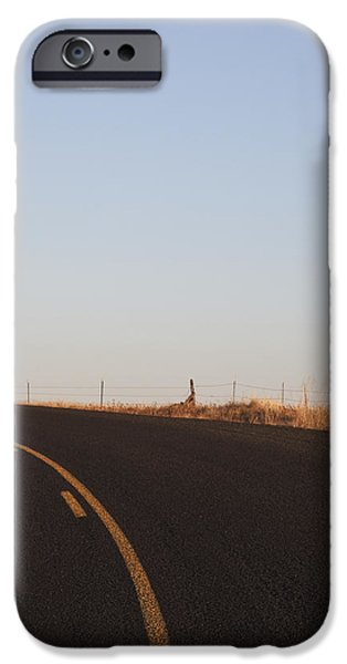 Two Lane Road Between Fields iPhone Case by Jetta Productions, Inc