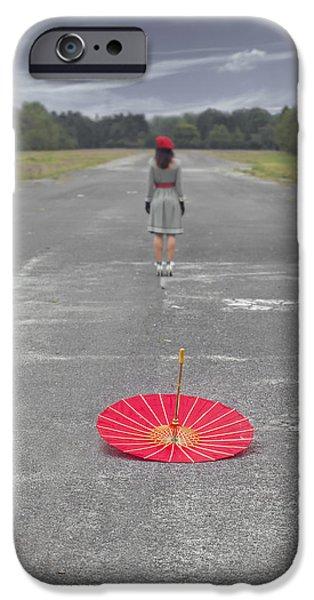 Red Umbrella iPhone Cases - Umbrella iPhone Case by Joana Kruse