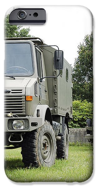 Unimog Truck Of The Belgian Army iPhone Case by Luc De Jaeger
