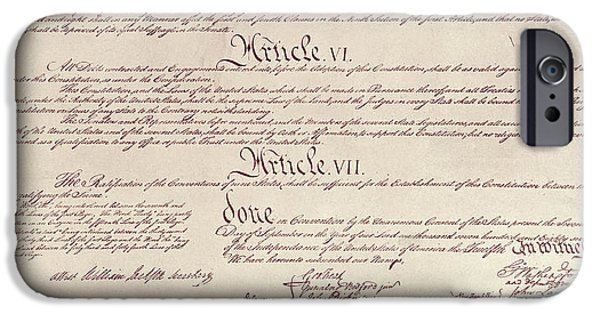 Constitution iPhone Cases - Us Constitution iPhone Case by Photo Researchers