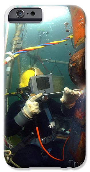 U.s. Navy Diver Welds A Repair Patch iPhone Case by Stocktrek Images
