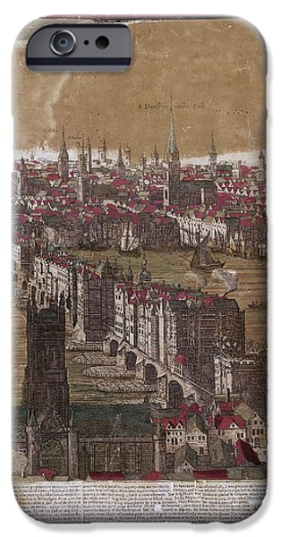 River View iPhone Cases - Visscher: London, 1650 iPhone Case by Granger