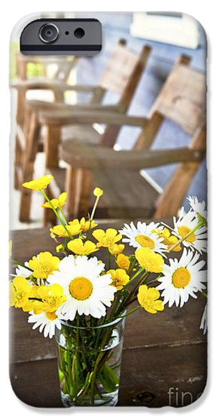 White Daisies iPhone Cases - Wildflowers bouquet at cottage iPhone Case by Elena Elisseeva