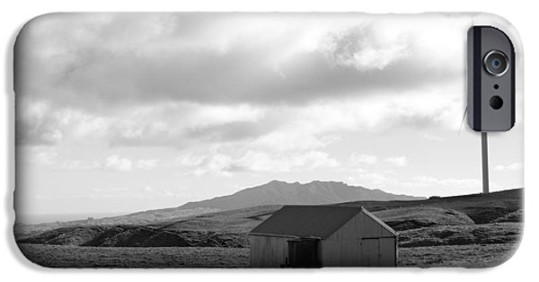 Black And White Landscapes iPhone Cases - Wind turbine iPhone Case by Les Cunliffe