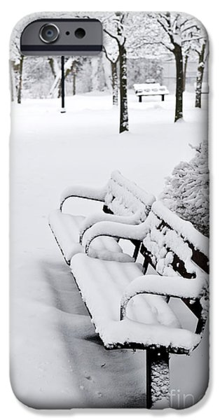 Park Benches iPhone Cases - Winter park iPhone Case by Elena Elisseeva