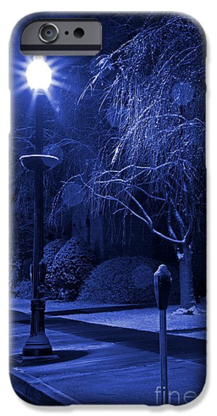 Winter Storm iPhone Cases - Winter Sidewalk Blues iPhone Case by John Stephens