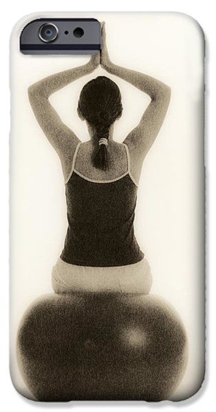 Pilate iPhone Cases - Woman Sitting On Exercise Ball iPhone Case by Cristina Pedrazzini
