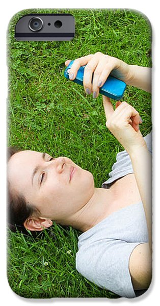 Woman Using Her Iphone iPhone Case by Photo Researchers, Inc.