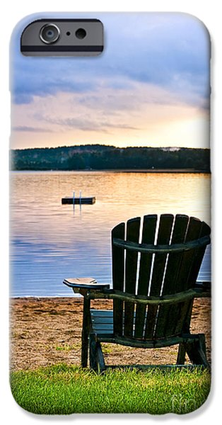 Wooden chair at sunset on beach iPhone Case by Elena Elisseeva
