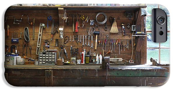 Vise iPhone Cases - Work Bench and Tools iPhone Case by Adam Crowley