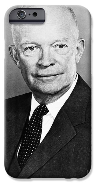 1950s Portraits iPhone Cases - Dwight D. Eisenhower iPhone Case by Granger